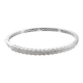 GP - Diamond (Bgt), Blue Sapphire Bangle (Size 7.5) in Platinum Overlay Sterling Silver 1.52 Ct, Sil