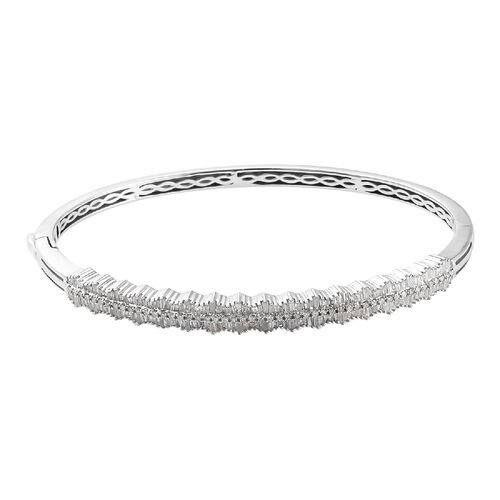GP 1.52 Ct Diamond and Blue Sapphire Stacker Bangle in Platinum Plated Silver 7.5 Inch