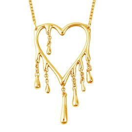 LucyQ Drip Heart Necklace (Size 18) in Yellow Gold Overlay Sterling Silver, Silver wt 8.67 Gms