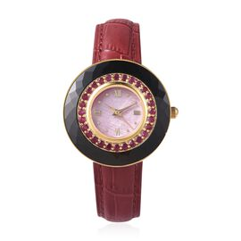 EON 1962 Swiss Movement African Ruby (Rnd), Black Ceramic Water Resistant Watch in Yellow Gold Plati