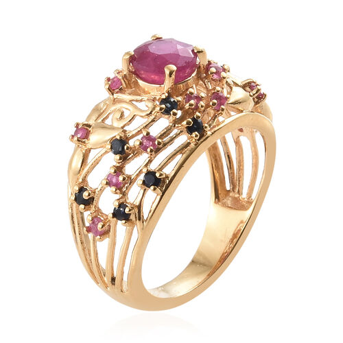 African Ruby (Rnd 1.150 Ct), Kanchanaburi Blue Sapphire Filigree Ring in 14K Gold Overlay Sterling Silver 1.750 Ct.