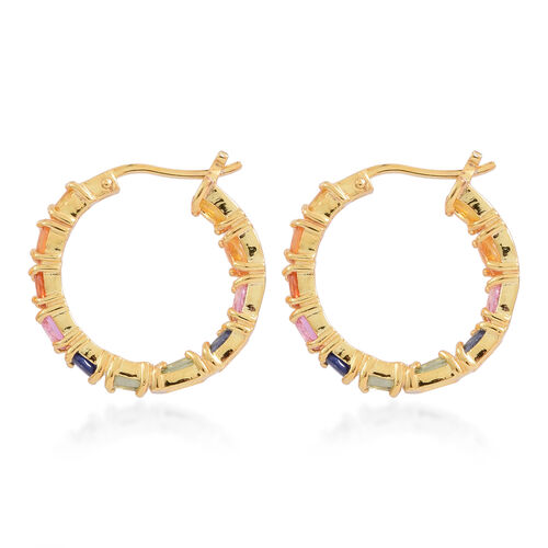 Rainbow Sapphire (Ovl) Hoop Earrings (with Clasp) in 14K Gold Overlay Sterling Silver 5.500 Ct. Silver wt 5.50 Gms.