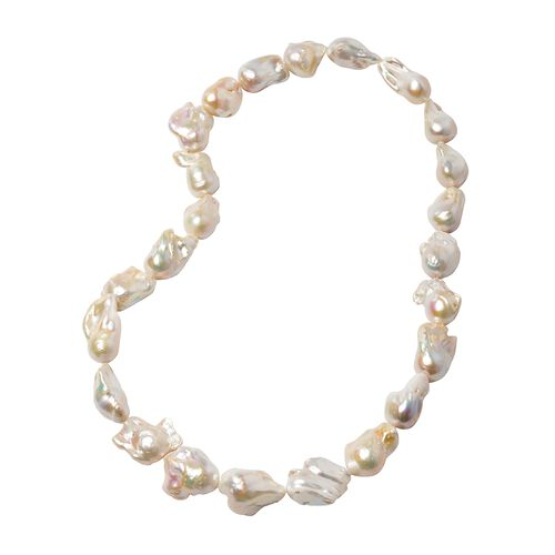 Extremely Rare AAA White Baroque Pearl Beaded Necklace 30 Inch