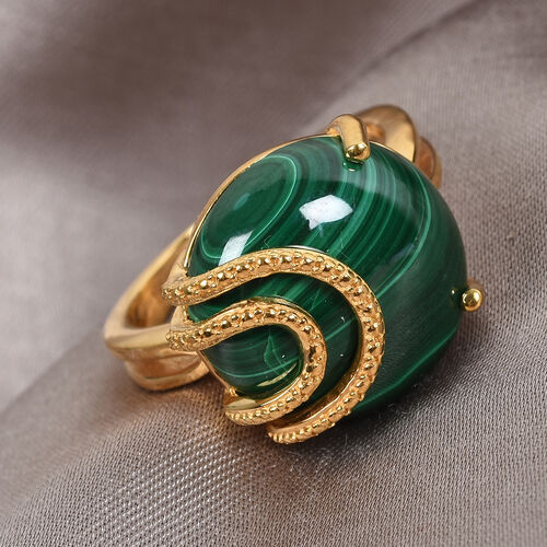 GP Malachite and Blue Sapphire Ring in 14K Gold Overlay Sterling Silver 12.77 Ct.