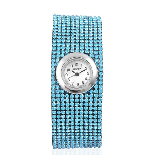 STRADA Japanese Movement White Dial Water Resistant Watch in Silver Tone with Stainless Steel Back and Light Blue Austrian Crystals Embellished Velvet Strap
