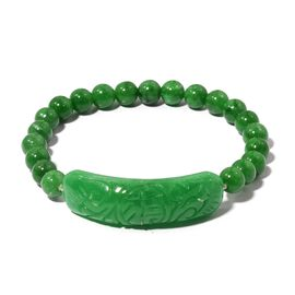 Extremely Rare Hand Carved AAA Green Jade Stretchable Beaded Bracelet 6 Inch