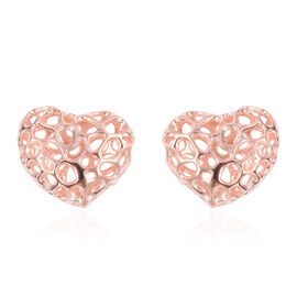 RACHEL GALLEY Heart Stud Earrings in Rose Gold Plated Sterling Silver with Push Back