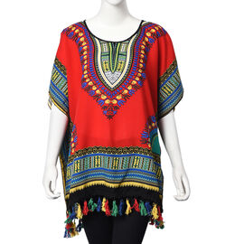 100% Cotton African Art Pattern Apparel with Tassels (One Size Fits All; 75x70 Cm) - Red and Multi