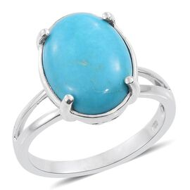 Arizona Sleeping Beauty Turquoise (Ovl) Solitaire Ring in Platinum Overlay Sterling Silver 7.000 Ct.