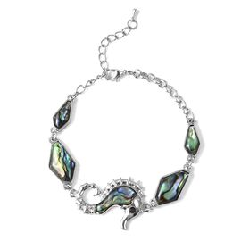 Abalone Shell (Ovl), Black and White Austrian Crystal Sea Horse Design Bracelet (Size 7 with 2 inch