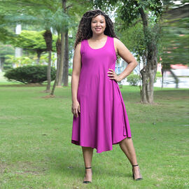 TAMSY 100% Viscose Womens Print Dress (Size:60x105Cm) - Purple