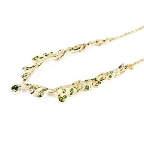 LucyQ Russian Diopside (Rnd), Natural White Cambodian Zircon Necklace (Size 16 with 3.5 inch Extender) in Yellow Gold Overlay Sterling Silver 3.020 Ct, Silver wt 12.53 Gms