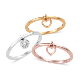 3 Piece Set - J Francis - Platinum, Yellow and Rose Gold Overlay Sterling Silver (Rnd) Ring with Cha