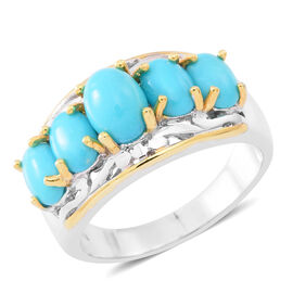 4.75 Ct Sleeping Beauty Turquoise 5 Stone Ring in Rhodium and Gold Plated Silver 7.40 Grams