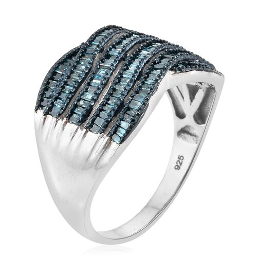 Blue Diamond (Bgt) Ring in Black Rhodium and Platinum Overlay Sterling Silver 0.750 Ct. Number of Diamonds 154