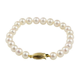 Japanese Akoya Pearl Beaded Bracelet in 9K Gold 7 Inch