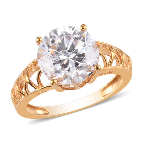 J Francis 14K Gold Overlay Sterling Silver Solitaire Ring Made with SWAROVSKI ZIRCONIA 6.60 Ct.