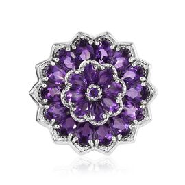 Zambian Amethyst (Pear and Rnd) Cluster Pendant in Platinum Overlay Sterling Silver 7.25 Ct, Silver