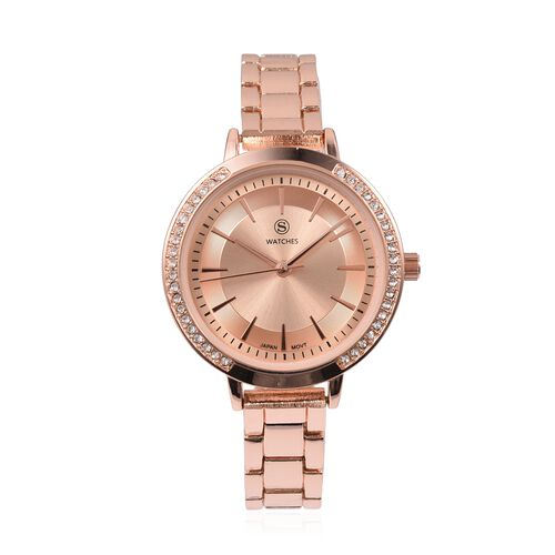 STRADA Japanese Movement White Crystal Studded Water Resistant Watch with Rose Gold Strap