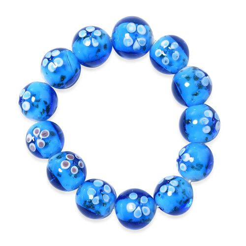 Millefiori Collection- Blue Colour Murano Style Glass Stretchable Beads Bracelet (Size 7)