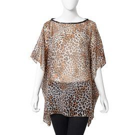 Designer Inspired- Dark Brown Sheer Leopard Print Pattern Apparel (Size 71x94 Cm)