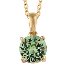 J Francis - Crystal from Swarovski Peridot Colour Crystal (Rnd) Solitaire Pendant With Chain (Size 1