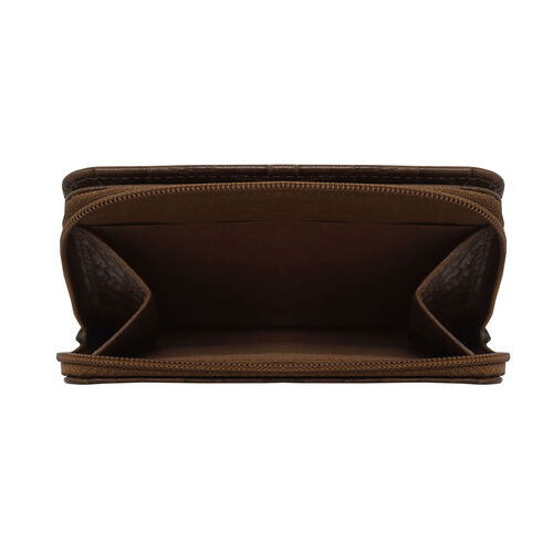 Assots London Croc Embossed Leather Zip Purse (Size 12x10cm) - Tan