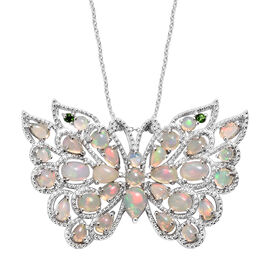 Ethiopian Welo Opal (Pear and Ovl), Russian Diopside Butterfly Pendant With Chain (Size 20) in Platinum Overlay Sterling Silver   5.250 Ct, Silver wt 9.40 Gms