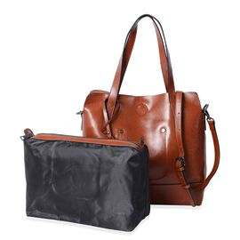 Designer Inspired - 2 Piece Set - 100% Genuine Leather Tan Colour Tote Bag (Size 31x30x12 Cm) and Pouch (Size 29x22x11 Cm)