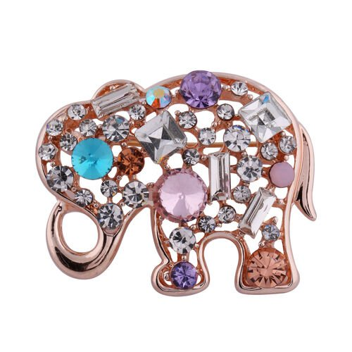 Set of 2 - Multi Colour Austrian Crystal, Simulated Pearl and Simulated Diamond Elephant Brooch or P