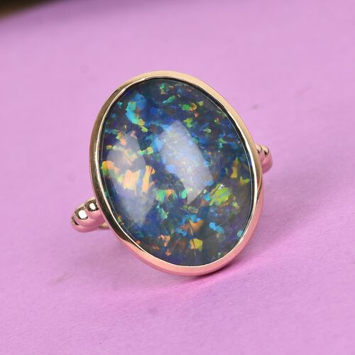 Extremely Rare Size 9K Yellow Gold Australian Boulder Opal (Oval 20x15mm) Ring, Gold wt. 4.00 Gms