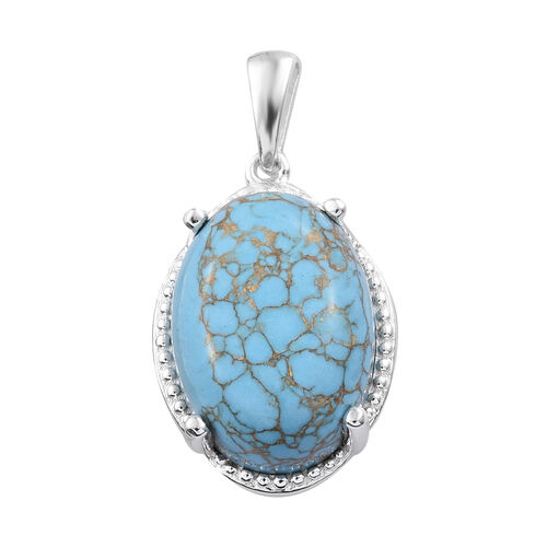 12 Carat Mojave Blue Turquoise Solitaire Pendant in Sterling Silver