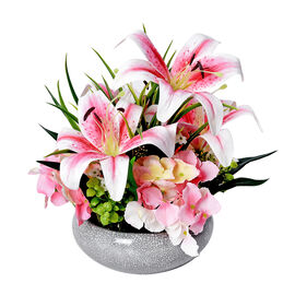 4 Heads Lily and 3 Heads Hydrangea Decorative Flower Arrangement in Ceramic Pot (Height: 40Cm) - Pin