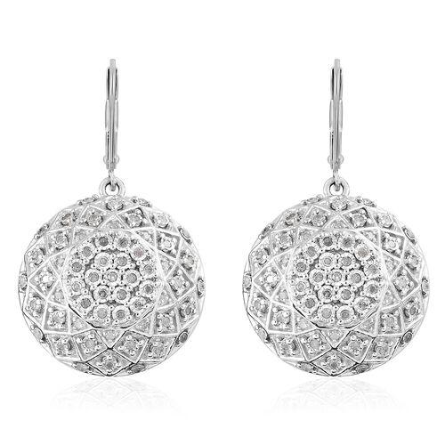 GP 0.62 Ct Diamond Cluster Drop Earrings in Sterling Silver 11.67 Grams