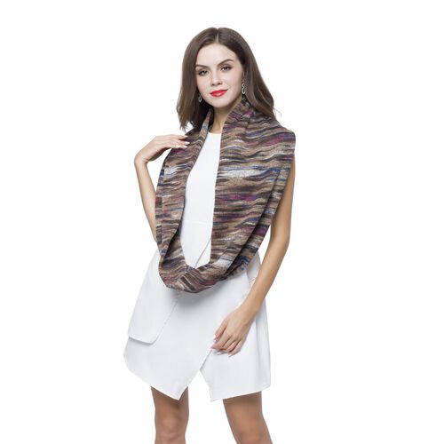 Chocolate, Pink and Multi Colour Abstract Pattern Infinity Scarf (Size 75X24 Cm)