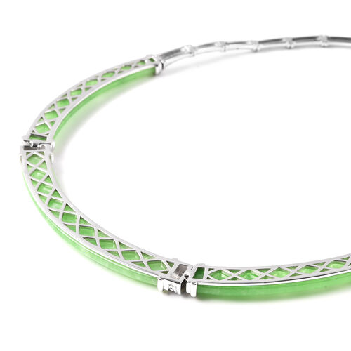 Green Jade Necklace (Size 18) in Rhodium Overlay Sterling Silver 85.50 Ct, Silver wt 26.55 Gms
