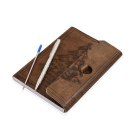 Luxury Silver Pen (10 Gms) With 1 Extra Refill and Embossed Leather Diary (Size 17.5X12.5 Cm ) - Bro