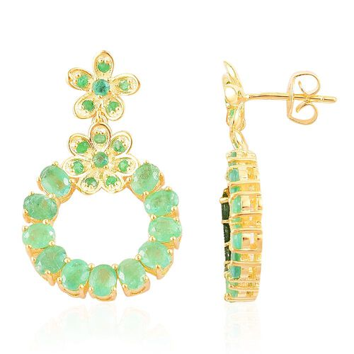 Kagem Zambian Emerald (Ovl) Earrings (with Push Back) in Yellow Gold Overlay Sterling Silver 4.385 C