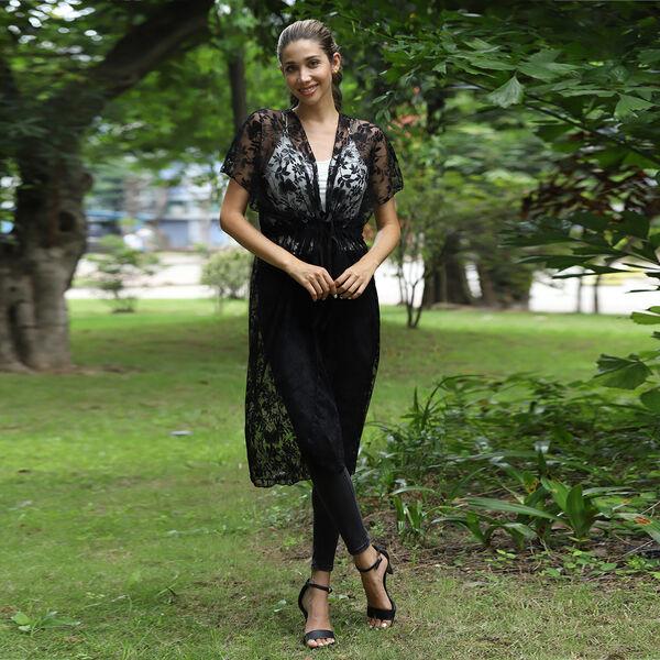 JOVIE Lace Kimono With Drawstring Closure - Black