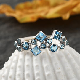 Sajen Silver GEM HEALING Collection - Swiss Blue Topaz Celestial  Doublet Quartz Ring in Rhodium Overlay Sterling Silver 1.40 Ct.