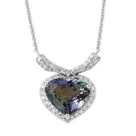 ILIANA 18K White Gold AAA Peacock Tanzanite (Hrt 2.75 Ct), Diamond (SI/G-H) Heart Necklace (Size 20) 2.990 Ct.