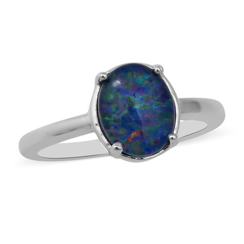 1.85 Ct Rare Size AAA Boulder Opal Solitaire Ring in Sterling Silver