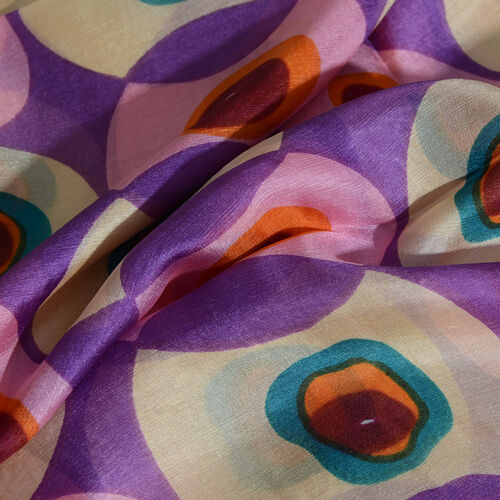 100% Mulberry Silk Purple, Pink and Multi Colour Handscreen Printed Scarf (Size 180x100 Cm)