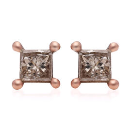 9K Rose Gold SGL Certified Natural Champagne Diamond (I3) Stud Earrings (with Push Back) 0.25 Ct.