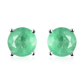 RHAPSODY 950 Platinum AAAA Zambian Emerald (Rnd) Earrings (with Screw Back) 1.00 Ct.