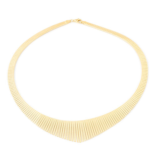 Italian Made Gold Overlay Sterling Silver Cleopatra Necklace (Size 17), Silver wt 28.43 Gms.