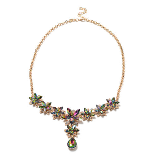 2 Piece Set - Simulated Mystic Topaz, White Austrian Crystal Floral Necklace and Hook Earrings in Gold Tone