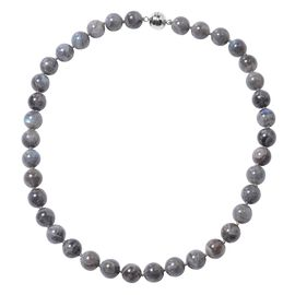 Collectors Edition- Labradorite (Rare Size Rnd 12-14 mm) Beads Necklace (Size 20) in Rhodium Overlay