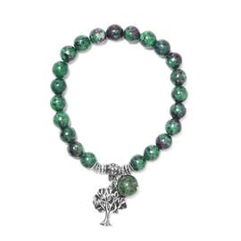 77 Carat Ruby Zoisite Tree of Life Lucky Charm Beaded Stretchable Bracelet 7 to 7.5 Inch
