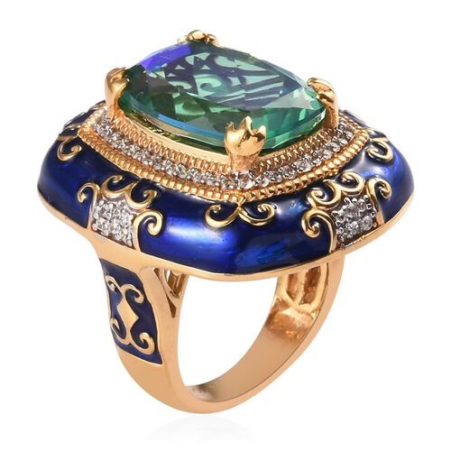 GP - Peacock Quartz, Natural Cambodian Zircon and Blue Sapphire Enamelled Ring in Platinum and Yellow Gold Overlay Sterling Silver 10.50 Ct, Silver wt 12.40 Gms